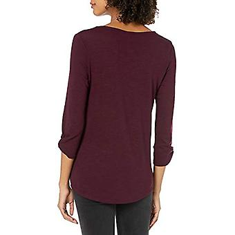 A. Byer Junior's Long Sleeve Side-Button Top, Raisin, Large, Raisin, Size Large