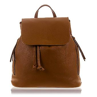 Florence Artegiani Mochila De Mujer Casual Piel Autntica Acabado Dollar Bag Messenger 31 cm Brown (Cuero)