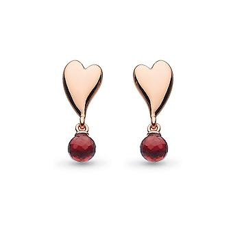 Kit Heath Desire Kiss Crush Mini Heart Garnet Briolette Stud Boucles d'oreilles 50PKRGT028