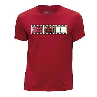STUFF4 Boy's ronde hals T-T-shirt/Film Strip / Londen/rood