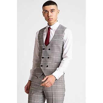 Marc Darcy ROSS Check Double Breasted Waistcoat - Grijs