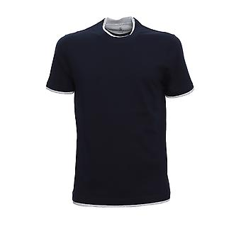 Brunello Cucinelli M0t617427ce490 Men's Blue Cotton T-shirt