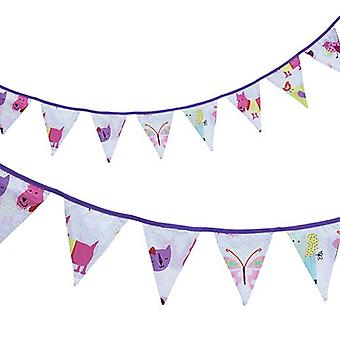 Ready Steady Bed� Fabric Bunting Flags Banner | Printed Polycotton Party and Bedroom Decoration for Kids | Birthday Bunting for Girls or Boys | 3 Metres (Cute Pets)