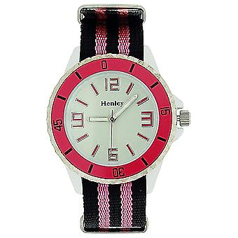 Henley Glamour Ladies Analogue Pink & Black Nylon Strap Sports Watch H0883.5