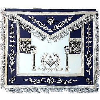 Navy apron master mason square g & pillars freemasons silver fringe