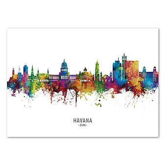 Art-Poster - Havana Cuba Skyline (Colored Version) - Michael Tompsett 50 x 70 cm