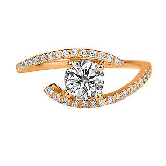 0.75 CTW 5.50MM Moissanite Forever One Engagement Ring with Diamonds 14K Rose Gold Pave Twist