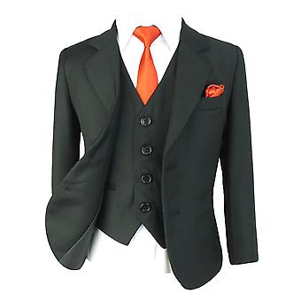 Boys Regular Fit All in One Black Suit