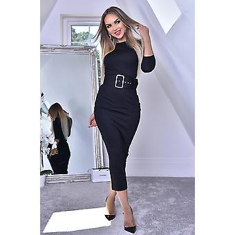 Eliana Black Midaxi Dress - Zwart