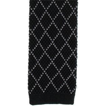 Michelsons London Diamond jedwabiu z dzianiny Tie chudy - czarny/grafitowy