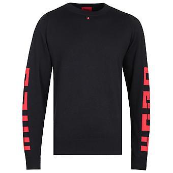 HUGO Scribbon Brutallism Black Logo Knitted Sweater