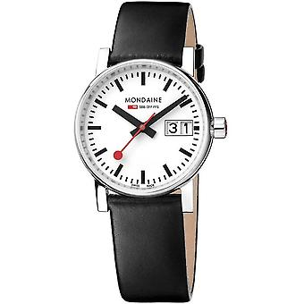 Mondaine evo2 Black Leather Strap Ladies Watch MSE.30210.LB 30mm