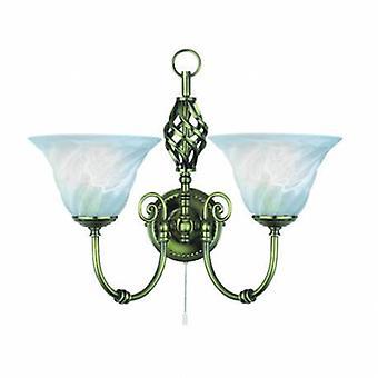 2 ljus inomhus vägg ljus antik mässing med marmor glas