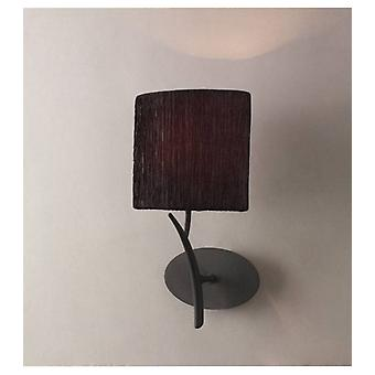 Eve Wall Light With Switch 1 E27 Bulb, Anthracite With Oval Black Lampshade