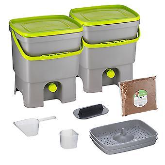 Skaza Bokashi Organko Set van 2 keukencompostcontainers gemaakt van gerecycled plastic| | 2 x 16 l | Beginnersset voor keukenafval en compostering | met ME beregening 1 kg l