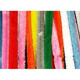 50 Bright 14mm Chunky Extra Long 50cm Pipe Cleaners | Chenille Stems