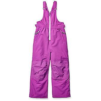 Essentials Girls' Big Water-Resistant Snow Bib, Bright Purple, Medium