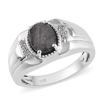 Solitaire Meteorit Ring Sterling Sølv Platin Belagt cambodjanske Zircon TJC