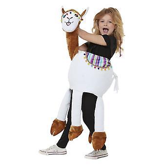 Niños cabalgan en Llama vestido elegante traje de un tamaño