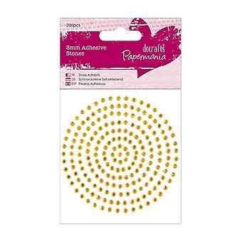 Papermania 3mm Adhesive Stones (206pcs) - Gold (PMA 351619)
