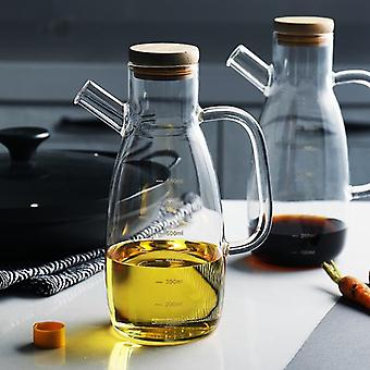Transparent Heat Resistant Lecythus Glass Oil Bottle With Handle - Kitchen Soy Vinegar Sauce Container