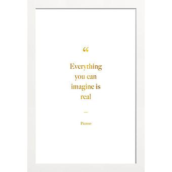 JUNIQE Print - Gold Everything You Can Imagine Is Real - Painter & Artist Poster in Goud en Wit