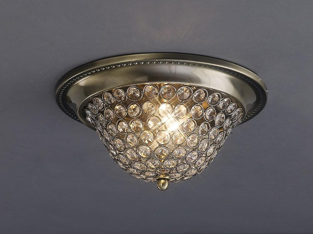Inspired Diyas - Paloma - Flush Bowl Ceiling Small 2 Light Antique Brass, Crystal
