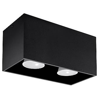 2 Light Ceiling Black, GU10