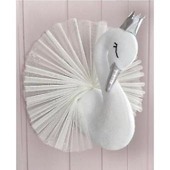 Swan Wall Decoration Flamingo Ballet Tulle Doll Golden Crown Swan Stuffed Toys- Animal Head Baby Room Birthday Gift