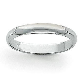 Platina Solid polert halv runde 3mm Half-runde bryllup Band Ring - Ring størrelse: 4 til 12