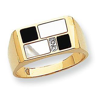14 k giallo oro trilioni lucido aprire di nuovo non engraveable simulato Onyx simulato madre perla e diamante Mens Ri