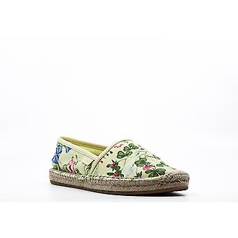 | Gucci Floral Knight Print Canvas Espadrille Flats