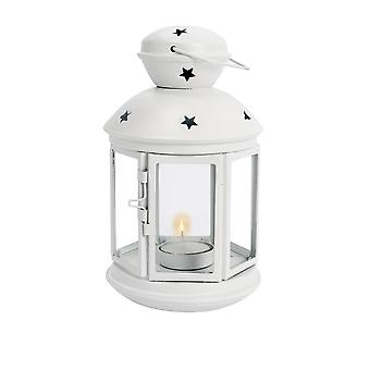 Nicola Spring Candle Lanterns Tealight Holders Vintage Metal Hanging Indoor Outdoor - 20cm - White
