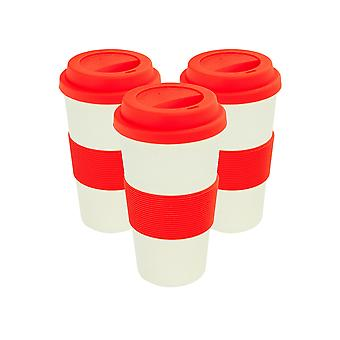 Reusable Coffee Cups - Bamboo Fibre Travel Mugs with Silicone Lid, Sleeve - 400ml (14oz) - Red - Pack of 3