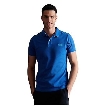 Superdry Classic Pique Short Sleeve Polo Shirt - True Blue Twist