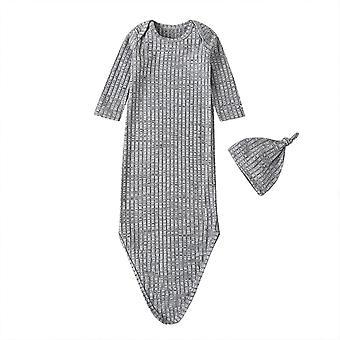 الخريف الربيع الطفل الرضيع فتاة صلبة محبوك طويل الأكمام مخطط Swaddle التفاف غطاء النوم حقيبة + قبعة مجموعة 0-1y