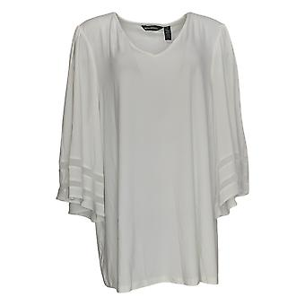 Nina Leonard Women's Plus Top Matte Knit Jersey Bell-Sleeve White 660-227