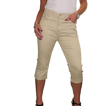 Women's Casual High Waisted 3/4 Crop Capri Stretch Jeans Style Chino Trousers 14-24
