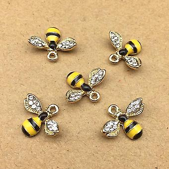 10pcs 14x18mm Enamel Bee Charm For Jewelry Making Cute Earring Pendant Bracelet