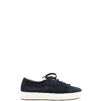 Santoni Ezbc023021 Men's Blue Suede Sneakers