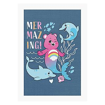 Care Bears Unlock The Magic Cheer Bear Mermazing Dolphins A4 Print