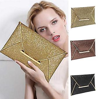 Women Evening Bag Pouch / Sequins Envelope Black Handbag
