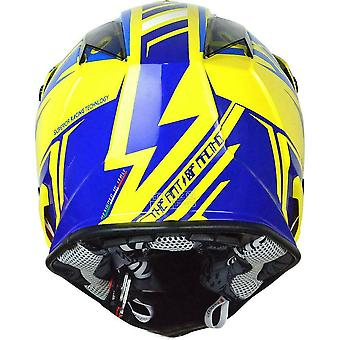 Just1 J32 Pro Rave MX hjelm gul blå Motocross ATV Off Road ACU Gull XS-XL