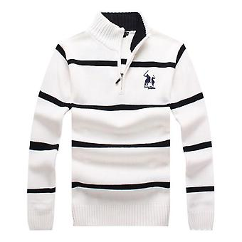Cotton Winter Mens Long Sleeve Knitted Sweaters, Casual Striped, Thick Knitted