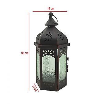 Rebecca Furniture Lantern Decorative Black Green Glass Metal Balcony 32x16x14