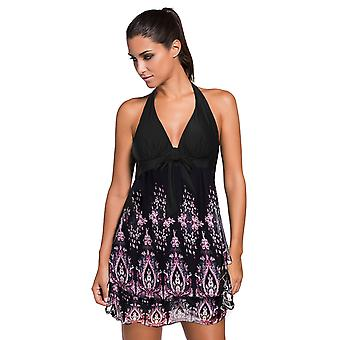 Fluttering Layered Halter Swim Dress With Short