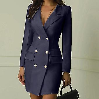 ファッションオフィスレディーススーツ女性ブレザードレスダブルブレストボタン