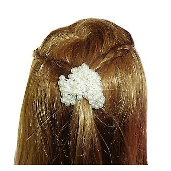 Girls ivory pearl effect hair scrunchie