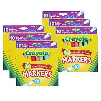 Broad Line Marker, Fett & helle Farben, 10 pro Packung, 6 Packungen