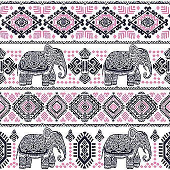 Bedrukt Elephant Life Multicolor vloerkleed in Polyester, Katoen, L100xP150 cm